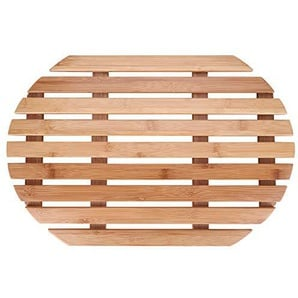 Zerone Badematte, Slip-Proof Mat Cushion Oval Bamboo Exquisite Comfortable Accessories for Bathroom Living Room