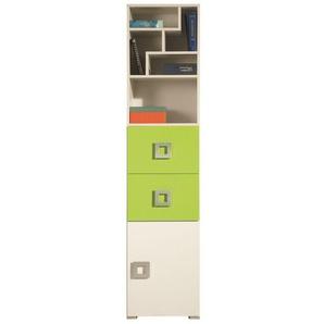 Jugendzimmer Regal Namur 04, Farbe: Grün / Beige - Abmessungen: 197 x 45 x 44 cm (H x B x T)