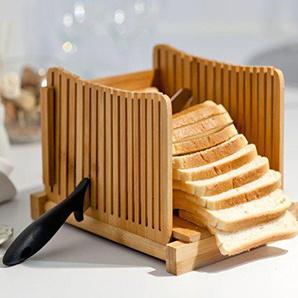Kenley Bambus Brotschneidehilfe - Brotschneide Manuell für Selbstgemachtes Brot, Toast, Laib Kuchen - Klappbar Slicer Brotschneider mit Brett und Messer Schneidehilfe