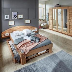 Home affaire Stauraumbett »Padua«, in Kernbuche oder Eiche inklusive Bettkasten, braun