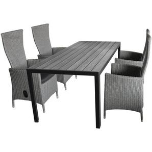 5tlg. Gartengarnitur Gartentisch, Polywood Tischplatte, 205x90cm + 4x Gartensessel grau-meliert, stufenlos verstellbar, inkl Sitzkissen - WOHAGA®