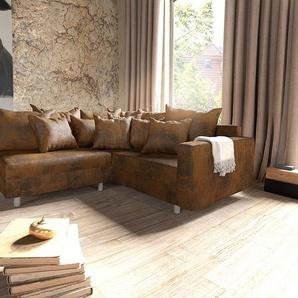 Ecksofa Clovis Braun Antik Optik modular Armlehne Ottomane Rechts, Design Ecksofas, Couch Loft, Modulsofa, modular