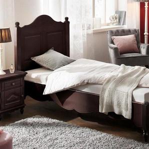 Premium collection by Home affaire Bett »Katarina«, in verschiedenen Bettbreiten erhältlich, mit schönen Kantenverzierungen, braun, 100 cm x 210 cm