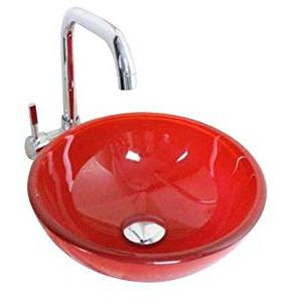 Homelavafans Modern Rund Gehärtetes Glas Waschbecken Farbe Blau Grün Gelb Orange Rot (Rot)