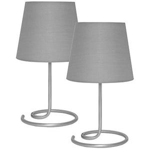 Nachttischlampe/Leselampe/ Tischlampe 2er-Set, 1 x E14/40W A++ (Textilschirm grau)