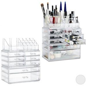 2 x Make Up Organizer mit Schubladen, stapelbares Kosmetikregal für Schmuck & Make Up, Schminkaufbewahrung, transparent - RELAXDAYS