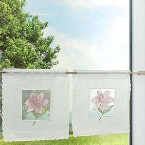 Scheibengardine  aus Plauener Spitze Lilienblüte  (Bx H) 30cm * 28cm rosa/rosé/grün