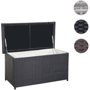 Poly-Rattan Kissenbox HWC-D43, Truhe Auflagenbox Gartentruhe, 51x115x58cm 220l ~ schwarz