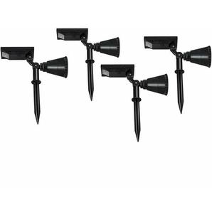 COSTWAY Solarleuchte 4er Set, Gartenleuchten Wasserdicht, Solarlampen Garten, Solarstrahler, 7 LEDs, 2 Helligkeitsstufe