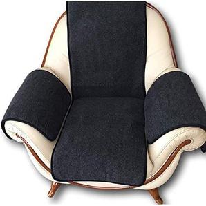 Sesselschoner anthrazit mit Taschen 100% Merinowolle Sitzauflage Sesselüberwurf Überwurf Polsterschoner