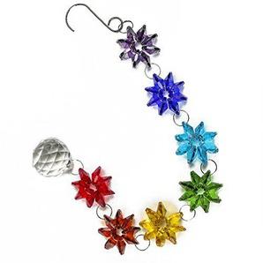 H&D Kristall Chakra Traumfänger Kronleuchter Kugel Prismen Sonnenfänger mit Octagon Perlen zum Aufhängen Fengshui Rainbow Anhänger
