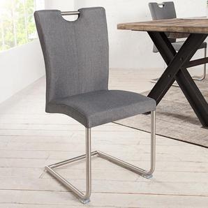 Moderner Freischwinger Stuhl BUFFALO grau mit Edelstahlgestell