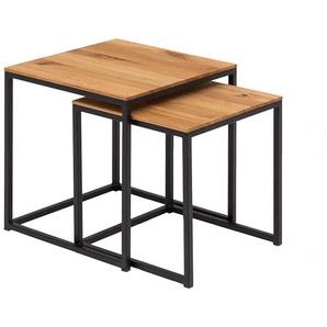 Beistelltisch Set aus Wildeiche Massivholz Stahl (2-teilig)