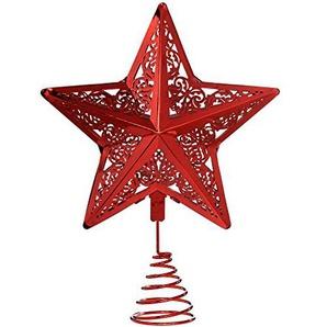 WeRChristmas Star Weihnachten Weihnachtsbaumspitze Dekoration, Plastik, rot, 30 x 23 x 6.5 cm
