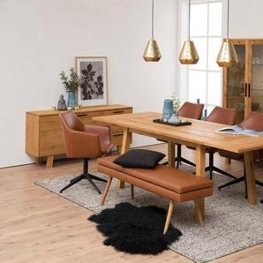 andas Stuhl »Nina«, Gestell aus Metall, Sitzpolsterung aus pflegeleichten Kunstleder, oder Webstoff, braun