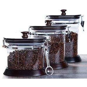 Glas-Kanister-Set, Vorratsbehälter für Lebensmittel Glas-Siegelglas mit Bambusabdeckung Küchenkanister für Tee, Kaffee, Gewürz,1100cc