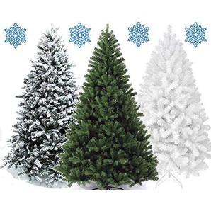 XONIC Künstlicher Weihnachtsbaum Tannenbaum 30,60,90,120, 150, 180,210 240cm Christbaum Baum GRÜN Weiss Schnee (90, Weiss)