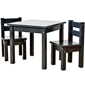 Hoppekids mit 1 Kindertisch und 2 Kinderstühle, teilmassiv sehr stabil, viele Farben, Holz, anthrazit grau, 55 x 50 x 47 cm
