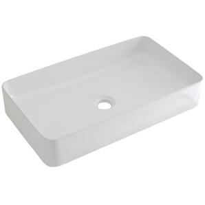 Hudson Reed Aufsatzwaschbecken Alswear - Moderne Waschschale aus Keramik in Weiß Rechteckig 610MM Breite - Waschbecken Waschtisch