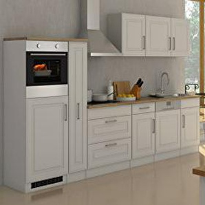 Held Möbel 632.1.6197 Rom Küche, Holzwerkstoff, matt weiß, 60 x 330 x 200 cm