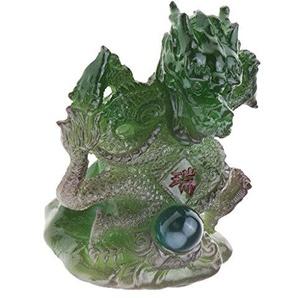 Baoblaze 1 Stück Tee Haustier Dekoration Garten-Figur Tischdekoration Ornament Zubehör - Grün Drachen