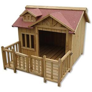 Wiltec XL Hundehütte Hundehaus Holz Balkon Garten Terrasse Hund