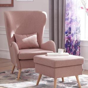 Guido Maria Kretschmer Home&living Sessel », wahlweise mit oder ohne Hocker«, rosa, B/H/T: 78x49x50cm, Inkl. Zierkissen, hoher Sitzkomfort