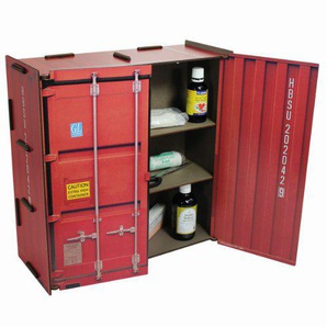 Werkhaus - Wandschränkchen Medizinschrank in Container-Optik, Rot, 37x37x15cm (CO1802)
