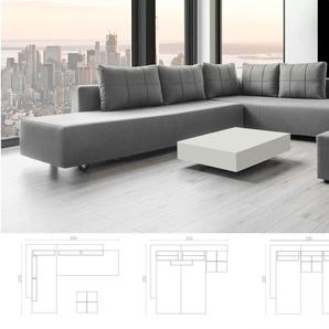 Ecksofa Doppelbett, Webstoff grau, Schlafsofa, Verwandlungssofa mit Liegeflächen 200x160cm oder 2 x 200x80cm