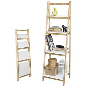 SoBuy® Leiterregal, klappbar, Standregal, Bücherregal, mit 4 Böden, B42XT34XH140cm, Kautschukholz und MDF, FRG162-N