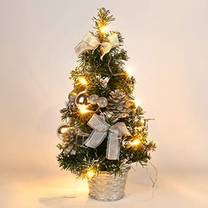 Artbro Mini Weihnachts Schreibtisch Baum Künstliche Weihnachtsbaum mit Lichtern für für Indoor Outdoor Home Office Dekor Silber