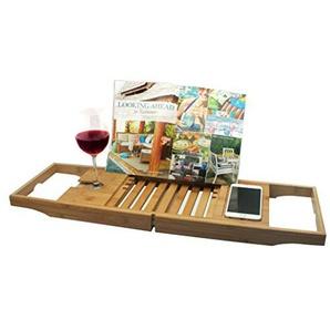 Spetebo Bambus Badewannen Tablett - verstellbar - Ablage Badewannenbrücke Wannenauflage