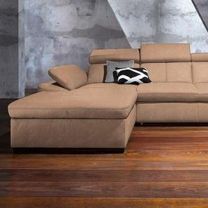 Exxpo - Sofa Fashion Ecksofa ohne Schlaffunktion, braun, Recamiere links, B/H/T: 284x45x56cm, hoher Sitzkomfort, FSC®-zertifiziert