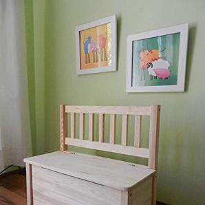 Kindersitzbank mit Stauraum und Hydraulikfeder unbehandeltes Massivholz