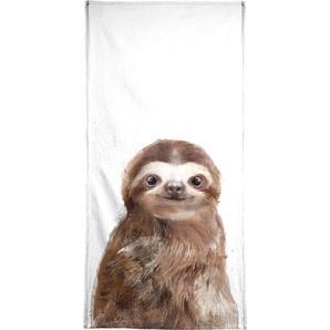 Handtuch »Little Sloth«, Juniqe, Weiche Frottee-Veloursqualität