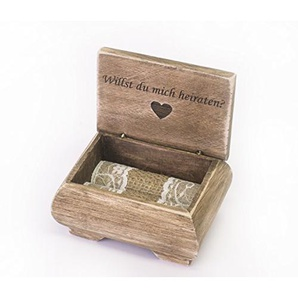 Happy Wedding Art Ring Box Ich Liebe Dich Ring-Kästchen Ring-Schatulle Ringkissen Ring Hochzeit Verlobung Geschenk