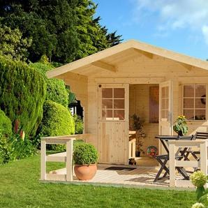 LUOMAN Set: Gartenhaus »Lillevilla 265«, BxT: 350x440 cm, inkl. Terrasse, Vordach und Fußboden