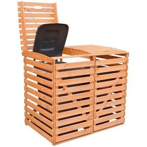 PROMADINO Mülltonnenbox , für 2x120 l aus Holz, B/T/H: 130/63/111 cm