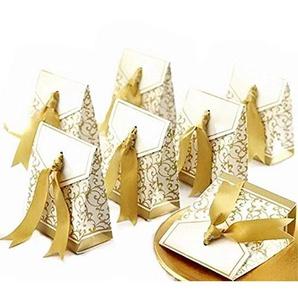 JZK 50 x Golden Papier Süßigkeiten Kasten Bonbons Geschenkschachtel Confetti Geschenkbox für Hochzeit Geburtstag Babyparty Baby Shower Weihnachten