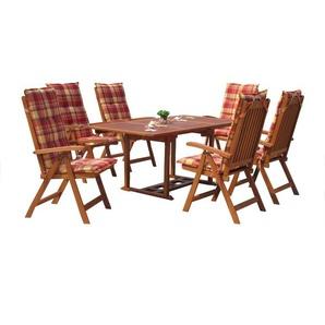 Grasekamp Garten Möbelgruppe Cuba 13tlg Sunshine  mit ausziehbaren Gartentisch Akazienholz