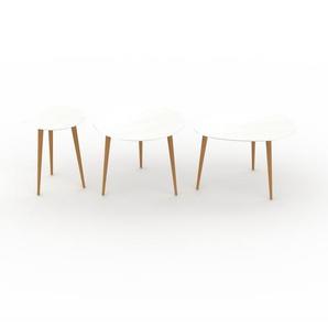 Couchtisch Weiß - Eleganter Sofatisch: Beste Qualität, einzigartiges Design - 40/60/67 x 50/47/44 x 40/60/50 cm, Konfigurator