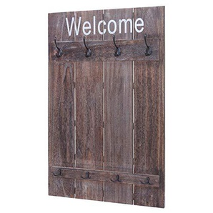 Mendler Wandgarderobe HWC-C89 Welcome, Garderobe Garderobenpaneel, Shabby-Look Vintage, 91x60cm ~ braun, Shabby