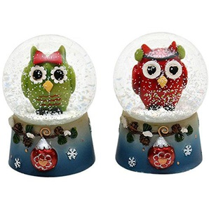 Unbekannt Sigro 2Eule Sortiert Snow Globe, 4,5x 6,5cm, Mehrfarbig