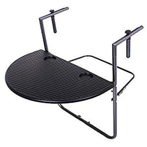 Mojawo® Balkontisch schwarz Rattan-Optik Klapptisch Campingtisch Partytisch 60x39cm höhenverstellbar 70cm bis 83cm