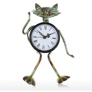 Tooarts Tischuhr Standuhr Schreibtischuhr aus Eisen Handgemachte Geschenk Idee Katze Uhr