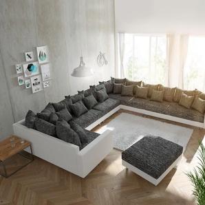 Wohnlandschaft Clovis XXL Weiss Schwarz mit Hocker und Armlehne Ottomane Rechts, Design Wohnlandschaften, Couch Loft, Modulsofa, modular