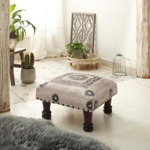 Home affaire Hocker aus schönem Baumwollstoff und edlen Stickereien »Javed«, FSC®-zertifiziert