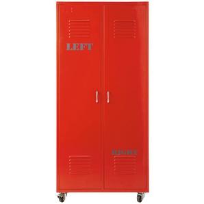 Kleiderschrank im Industrial-Stil 2 Türen aus Metall, rot Red