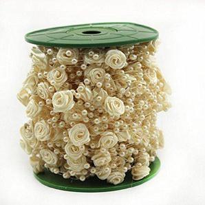 ICTRONIX 30M/Roll Rosen Perlenband Perlenkette Perlengirlande Perlenschnur Hochzeit Schmuckband Deko Perlen Tischdeko Elfenbein