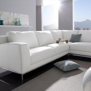 Polsterecke, weiß, Ottomane rechts, B/H/T: 276x46x53cm, hoher Sitzkomfort, FSC®-zertifiziert